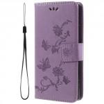Koženkové pouzdro Xperia XA2 - Fialové květy a motýli