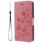 Koženkové pouzdro Xperia XA2 - Světle růžové květy a motýli
