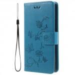 Koženkové pouzdro Xperia XA2 - Modré květy a motýli