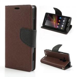 Pouzdro Wallet - Xperia SP - hnědé/černé
