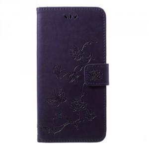 Pouzdro Huawei P20 - Květy a motýli - Tmavě fialové