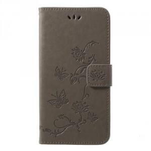 Pouzdro Huawei P20 - Květy a motýli - Šedé