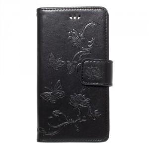 Koženkové pouzdro Xperia XZ1 Compact - Černé květy a motýli