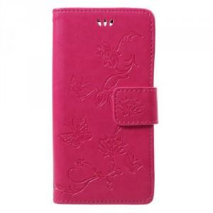 Koženkové pouzdro Xperia XZ1 Compact - Růžové květy a motýli