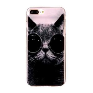 Pouzdro iPhone 7 Plus, iPhone 8 Plus - Kočka s brýlemi