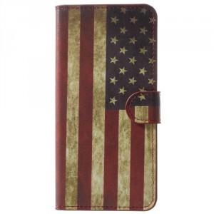 Koženkové pouzdro Honor View 10 - Vlajka USA