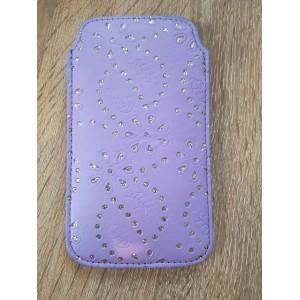 Koženkové pouzdro - Galaxy S5 i9600 - Světle fialové se štrasem