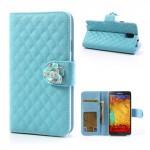 Koženkové pouzdro Wallet - Galaxy Note 3 N9005 - Modré s růží