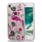 Pouzdro / Obal iPhone 7, iPhone 8 - průhledné - Plameňáci 02